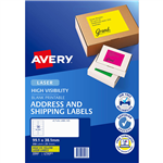 AVERY 35947 L7163FY HIGH VISIBILITY SHIPPING LABEL LASER 14UP FLUORO YELLOW PACK 25