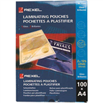 REXEL LAMINATING POUCH 125 MICRON A4 CLEAR PACK 100