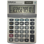 INITIATIVE DESKTOP CALCULATOR 12 DIGIT DUAL POWERED SMALL GREY