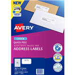 AVERY 959071 L7651 QUICK PEEL ADDRESS LABEL WITH SURE FEED LASER 65UP WHITE PACK 100