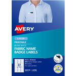 AVERY 959170 L4784 FABRIC NAME LABELS 27UP 635 X 296MM PACK 15