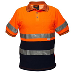 PRIME MOVER MP310 HI VIS COTTON POLO SHIRT WITH TAPE SHORT SLEEVE 2 TONE