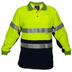 PRIME MOVER MP313 HI VIS COTTON POLO SHIRT WITH TAPE 2 TONE