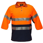 PRIME MOVER MP513 HI VIS POLO SHIRT MICRO MESH WITH TAPE 2 TONE