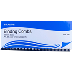 INITIATIVE PLASTIC BINDING COMB ROUND 21 LOOP 10MM A4 BLACK BOX 100
