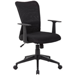 ASHLEY TYPIST CHAIR MEDIUM MESH BACK ARMS BLACK